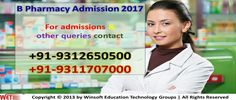 If you are keen to make your career as a Pharmacist, join B.Pharma 2017. Get detailed information on B.Pharm Admission 2017. Contact @ 09312650500, 09311707000.