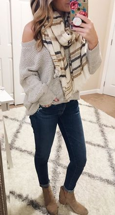 #winter #outfits gray knitted sweater with blue denim jeans
