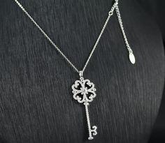 necklace set with zirconia key pendant in rhodium plated Key Pendant, Necklace Set, Plating, Silver, Jewelry, Jewlery, Money, Jewels, Key Chains