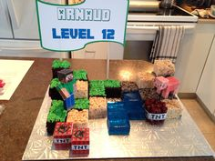 Minecraft Cake setup! I use blue Jell-O, Rice Krispies squares and Chocolate Cake with green frosting. Enjoy :)