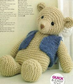 Christmas Gift Knits - 8 Quick & Easy Patterns for the Whole Family, October 2013 - garter stitch teddy bear with waistcoat