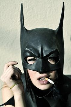 Oh Batgirl! Please put down that cancer stick! You know smoking isn't good for you! And you'll feel far more SUPER with clear lungs! Batman Maske, I Am Batman, Batman Girl, Batman Robin, Joker Batman, Batman Arkham, Batman Comics, Dc Comics, Batwoman