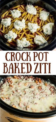 slow cooker baked ziti made entirely in the crock pot! You don't even cook the noodles first! Everyone goes crazy for this recipe for dinner easy crockpot Easy Crock Pot Baked Ziti Recipe - Build Your Bite Crock Pot Baked Ziti Recipe, Slow Cooker Baked Ziti, Crockpot Dishes, Crock Pot Slow Cooker, Crock Pot Cooking, Cooking Recipes, Potluck Slow Cooker Recipes, Crock Pot Pasta, Crockpot Recipes For Dinner