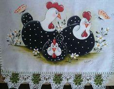 Resultado de imagem para galinhas pintura em tecido