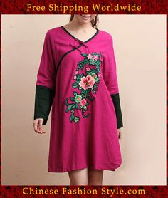 100% Handmade Pure Linen Blouse Shirt Top - Oriental Chinese Embroidery Art #101 http://www.chinesefashionstyle.com/jackets-blouses/
