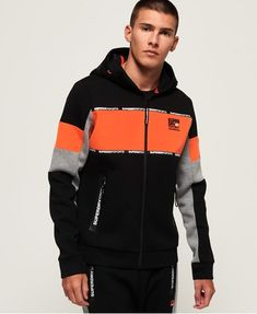 Shop Superdry Mens Gym Tech Stretch Blocked Zip Hoodie in Black/acid Orange. Buy now with free delivery from the Official Superdry Store. Mens Sweatshirts, Hoodies, Gym Outfit Men, Boys Clothes Style, Superdry Mens, Red Hoodie, Gym Wear, Sweater Jacket, Bungee Cord