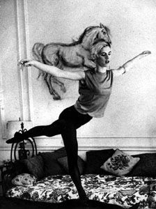 """Edie Sedgwick arabesquing on her leather rhino for the August editon of Vogue magazine I remember seeing this and cutting it out to put on my wall in high school. Oh, Edie. & Edith Minturn """"Edie"""" Sedgwick and Michael Brett Post July 1971 Patti Smith, Andy Warhol, Edie Sedgwick, Style 60s, Style Icons, Just Kids, Bidermann, Bruce Weber, Robert Rauschenberg"""
