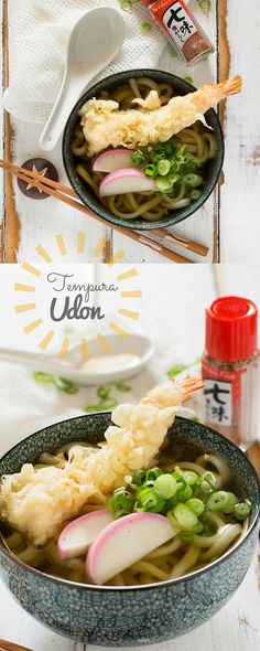 Udon is a popular Japanese noodle dish that is  very easy and quick to make and is topped with delicious prawn tempura!