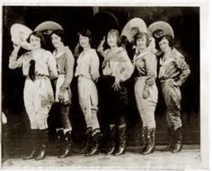 """Cheyenne Wyoming Frontier Days Cowgirl entrants, c. 1926. l-r, Bea Kirman, Rose Smith, Mabel Strickland, Ruth Roach, Florence Hughes. The winner would be awarded """"King Kalakauna's spurs"""""""