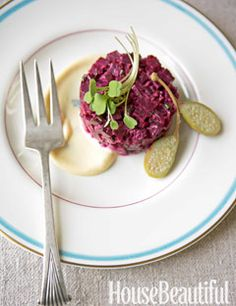 """Devin Mills's Roasted Beet """"Tartare"""" with Caperberries, Truffle Oil, and Micro Arugula. Vegetarian friendly!"""