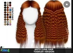 Child's Anto Luna Hair by Redhead Sims Sims 4 Toddler Clothes, Sims 4 Cc Kids Clothing, Sims 4 Mods Clothes, Toddler Cc Sims 4, Toddler Girls, Toddler Outfits, Girl Outfits, Sims 4 Pack, Sims 4 Cc Packs