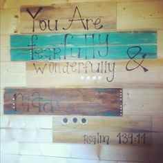 Blue Green Bible Verse Wooden Wall Decor Hanging by OBWDesigns, $45.00