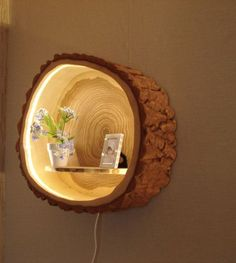 Very practical and interesting shelf with light installed into can be used for books, family pictures, some ornamental plant.