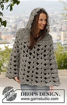 Chunky hooded poncho  looks cosy  Free pattern  Ravelry: 140-44 Raffinement - Poncho with hood in Polaris pattern by DROPS design