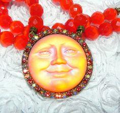 Купить Ожерелье Огненная Луна,Kirks Folly,США,барельеф,в подарок,РЕДКИЙ цвет! в интернет магазине на Ярмарке Мастеров