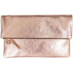 Rental Clare V. Rose Foldover Clutch ($97) ❤ liked on Polyvore featuring bags, handbags, clutches, purses, rose gold, genuine leather purse, pink purse, rose purse, pink clutches and genuine leather handbags