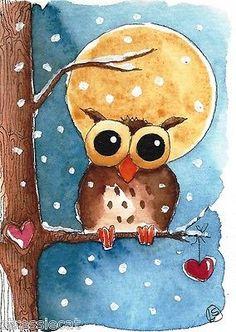 ACEO Original Watercolor Folk Art Illustration Whimsical Owl Moon Snow Heart | eBay