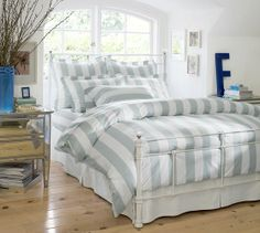 PB Classic Stripe 400-Thread-Count Duvet Cover & Sham - Porcelain Blue   Pottery Barn