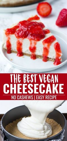 recipes easy The best vegan cheesecake ever! Easy recipe, nut free and baked. The best vegan cheesecake ever! Easy recipe, nut free and baked. Cheesecake Sans Lactose, Dairy Free Nut Free Cheesecake, Fun Easy Recipes, Easy Meals, Bolos Light, Vegan Dessert Recipes, Vegetarian Cheesecake Recipe, Vegan Recipes No Nuts, Healthy Desserts