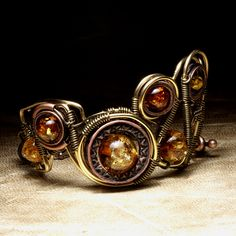 Steampunk Jewelry made by CatherinetteRings - Epic Bracelet with Amber | Flickr - Photo Sharing!