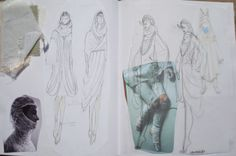 Fashion Sketchbook - forest goddess costume design sketches inspired by Japanese fairytales; the creative process