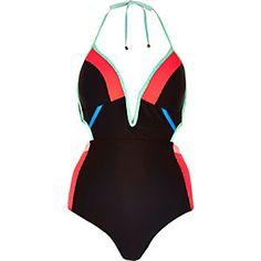 Black colour block cut-out swimsuit