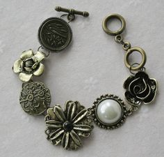 Shop for bracelet on Etsy, the place to express your creativity through the buying and selling of handmade and vintage goods. Woodland Flowers, Handmade Bracelets, Handmade Gifts, Flower Bracelet, Kitten, Brass, Charmed, Personalized Items, Unique Jewelry