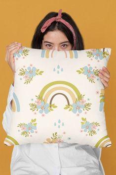 Cute Floral Cartoon Rainbows Pattern Illustration Throw Pillow by sweetbirdiestudio