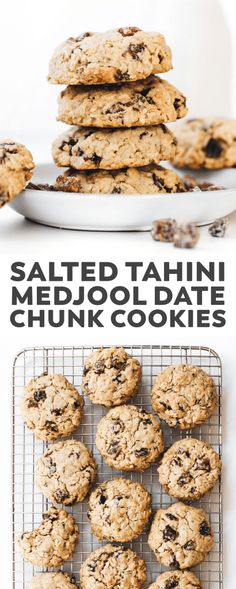 Tahini Medjool Date Chunk Cookies. Crunchy outside, sweet/salty and soft-baked inside, these oatmeal cookies just might be better than chocolate chip! Cookies crunchy Tahini Medjool Date Chunk Cookies (vegan + gluten-free) Healthy Vegan Dessert, Cake Vegan, Vegan Dessert Recipes, Healthy Cookies, Vegan Sweets, Whole Food Recipes, Cookies Vegan, Chickpea Cookies, Date Fruit Recipes