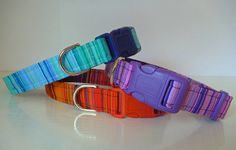 "Check Dog Collar - Ombre Striped in Orange-Red ""Sunset"", Blue ""Lagoon"", Purple ""Twilight"" by katiesk9kollars on Etsy"