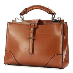 Women Vintage Stylish Satchel Tote Messenger Shoulder Bag Crossbody Bag is designer, see other popular bags on NewChic Mobile. Bags Online Shopping, Online Bags, Leather Handbags, Leather Bag, Women's Handbags, Satchel Handbags, Leather Purses, Soft Leather, Popular Bags