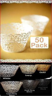 50 x White Pearl Lace Filigree Wedding Cupcake Wrapper Baking Cake Cups Wraps