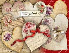 AMOR corazones - hoja de collage digital - conjunto de 2 hoja - descargar para imprimir de bydigitalpaper en Etsy https://www.etsy.com/es/listing/96523700/amor-corazones-hoja-de-collage-digital
