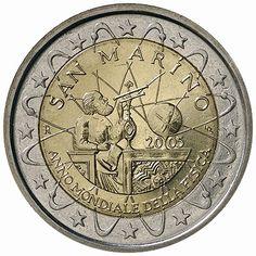 2 euro coins - San Marino 2005, World Year of Physics 2005. Commemorative 2 euro coins from San Marino