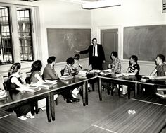 Planting Fields, Oyster Bay, New York: classroom, circa 1961 (first campus of Stony Brook University) (credit: University Archives, Stony Brook University).