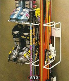Racor - Two Pair Skis, Boots and Poles Storage Rack Free Ground Shipping offer. The Racor - Two Pair Skis, Boots and Poles Storage Rack is in stock and on sale. Shop for similar ski storage racks or purchase it here. Sports Equipment Storage, Ski Equipment, Garage Organization, Garage Storage, Organizing Ideas, Organized Garage, Basement Storage, Ski Rack, Boot Storage