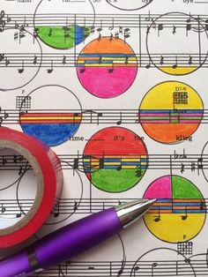 Outline and color in circle doodles on an old music sheet. Part of a collection of everyday doodle ideas on my blog.