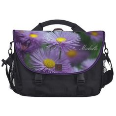 Purple Asters Laptop Bag -http://www.zazzle.com/godsblossom #laptopbags #asters #gifts #bags #mothersdaygifts