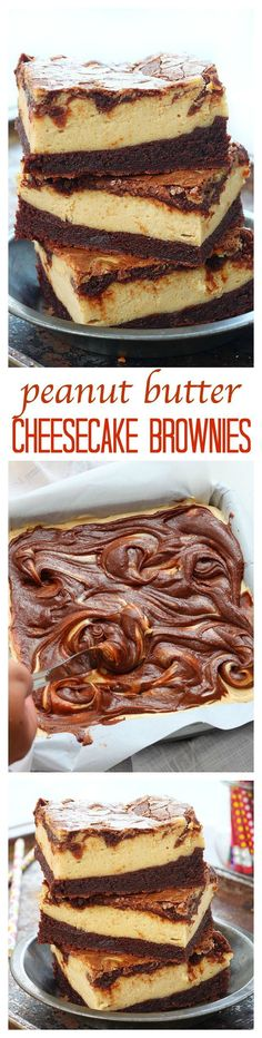 Fudgy homemade brownie topped with a silky layer of peanut butter cheesecake. If you love peanut butter and chocolate together, you'll LOVE these peanut butter cheesecake brownies!