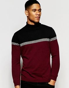 River Island Model with Burgundy Color block design by River Island Mens Winter Sweaters, Mens Fashion Sweaters, Men Sweater, Mens Roll Neck, River Island, Color Borgoña, Asos, Burgundy Cardigan, Mens Jumpers