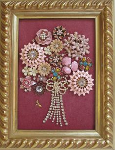 Jeweled Framed Jewelry Flower Bouquet Pink Rose Vintage by audreymivey on Etsy