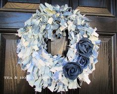 s 19 gorgeous reasons to dig your old jeans out of the closet, crafts, repurposing upcycling, Add a rag and rose wreath to your front door Patriotic Bunting, Denim Scraps, Diy Jeans, Mesh Wreath Tutorial, Old Baskets, Globe Decor, Diy Plant Stand, Wreath Forms, Upcycled Crafts
