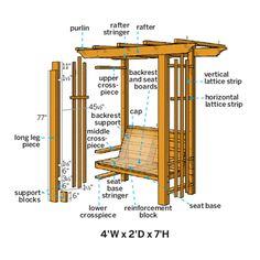 How to Build an Arbor Bench Use sturdy, all-weather cedar to craft a cozy seating spot for your yard Arbour Seat, Diy Arbour, Arbor Bench, Arbor Swing, Porch Bench, Pergola Plans, Diy Pergola, Pergola Kits, Pergola Ideas