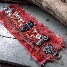Tattered textile cuff with black tektite, shark teeth, salvaged fabric (small size) by quisnam on Etsy Fiber Art Jewelry, Mixed Media Jewelry, Textile Jewelry, Fabric Jewelry, Jewelry Art, Jewellery, Fabric Bracelets, Diy Bracelets Easy, Handmade Bracelets