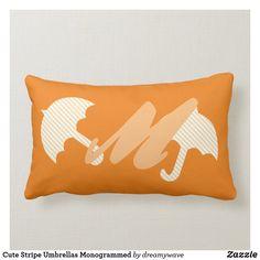 Cute Stripe Umbrellas Monogrammed Lumbar Pillow Playroom Decor, Nursery Decor, Lumbar Pillow, Bed Pillows, Umbrellas, Custom Pillows, Keep It Cleaner, Your Design, Monogram