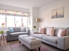 To complement the clean and minimal white walls, Natalie chose the Quartz to be her centrepiece sofa, in the eminently practical but no less stylish shade of grey   #mydfs