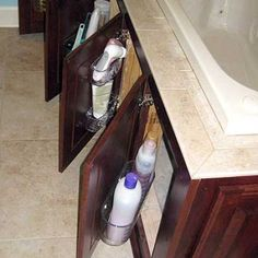 Storage in the tub surround. Use suction cup holders. Could also do on regular bath cabinets. 30 Creative and Practical DIY Bathroom Storage Ideas Bathroom Storage Solutions, Bathroom Organization, Bathroom Ideas, Bathroom Interior, Design Bathroom, Bathroom Inspiration, Unit Bathroom, Bathroom Cupboards, Diy Organisation