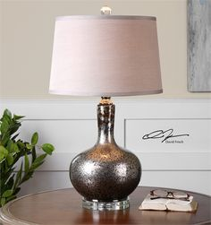 APPROVED 1.29.16 Great Room Lamp- Uttermost, Aemilius Gray Glass Mirrored Lamp
