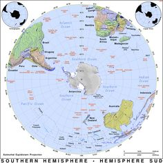 Post with 447 views. Southern Hemisphere (Azimuthal Equidistant Projection) x South Pacific, Social Studies, Southern, Politics, Diy Crafts, Maps, History, Country, World