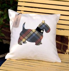 Scottie Dog Cushion  COVER ONLY by TamsinReedDesigns on Etsy